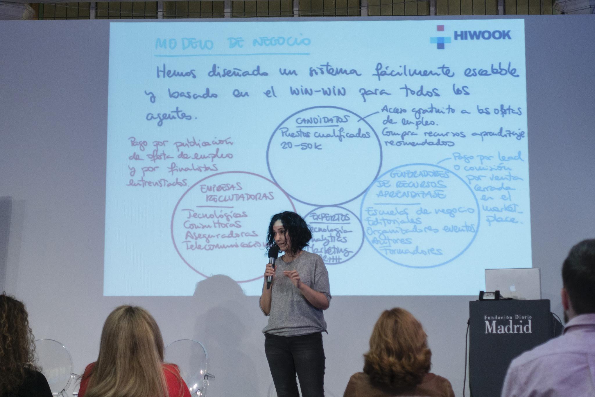 María Gutiérrez presentando Hiwook