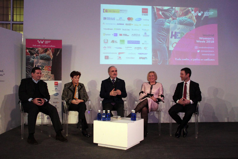 Salvador Molina, presidente del Foro ECOFIN; Gabriel Sáez Irigoyen, CEO del Grupo Ingesport; Jaime Colsa, CEO de Palibex; Ofelia Santiago, experta en desarrollo del Capital Humano, y Pilar Gómez Acebo, presidenta del Consejo Asesor de MWW